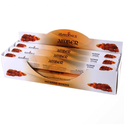 Amber Scented Incense Sticks Elements Indian - Tube Of 20